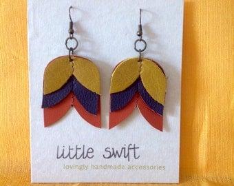 Tulip Earrings - Scandi Flower Earrings - Folk Tulip recycled leather earrings - mustard, grape and orange with antique brass findings