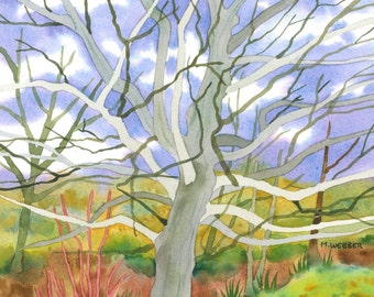 Winter Tree Landscape Limited Edition Giclee Print Watercolour Painting
