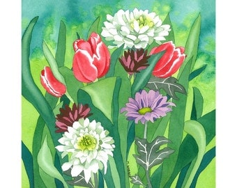 Limited Edition Signed Print, Tulips and Crysanthemum in Botanical Style Watercolour