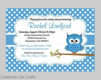 Baby Shower Invitations - Printable Baby Boy Shower Invite - Owl Baby Shower Theme - Blue Polka Dots - JPG or PDF - B2011