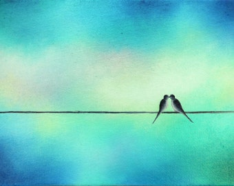 Birds on a Wire Art Print, Love Birds Art, Blue and Green Wall Art, Pastel Art, Silhouette Art, Bird Art Print, Minimalist Pastel Wall Decor