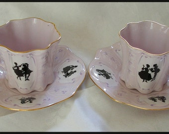 Victorian Czech Pink Lavender Silhouette Cup and Saucer Pair