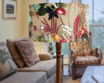 Handmade Floral Botanical Lampshade, Tropical Dusk Design, Compliments Home Interiors, Perfect Home Decor
