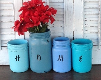 HOME Painted Mason Jars - Blue Eclectic Cottage Chic Housewarming Table Top Vases