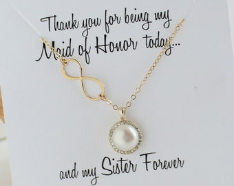 Maid of Honor Gift, Infinity Pearl Gold Necklace, Halo Pearl Necklace, Sister card, Maid of Honor Card  necklace, Maid of Honor Gift Sister