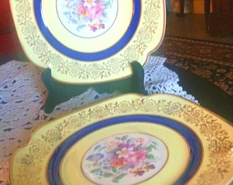 Beautiful Yellow and Navy Dessert Plates with Gold Accents, Set of 4