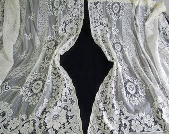 """Pair (Two) Vintage Ivory Lace Curtains  59""""w x 57""""l"""