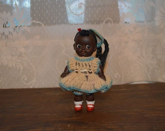 Vintage African American doll collectible miniature doll made in Japan