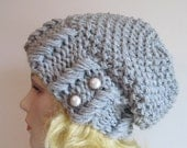 SALE Grey Slouchy Hipster Beanie Slouch Hats Baggy Beret Pearl Buttons womens fall winter accessory Heather Grey Super Chunky Knit