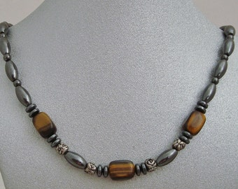 Magnetic Hematite Necklace with Tiger Eye Nuggets