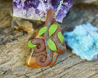 Fossilized Wood Forest Necklace handmade polymer clay petrified wood tree fossil gemstone pendant