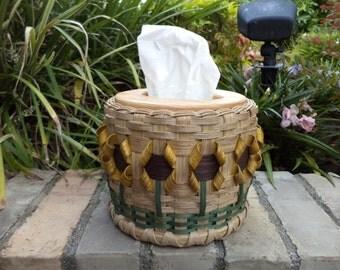 Sunflower Kleenex Tissue Basket Tissue Basket Sunflower Basket Yellow Sunflower Basket Kleenex Basket Made in Texas