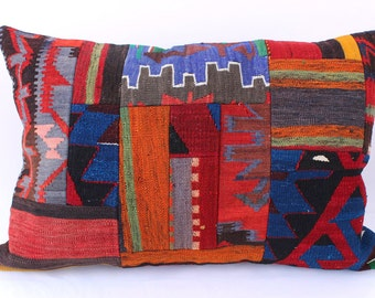 Patchwork Pillow, Modern Bohemian, Home Decor,Turkish Kilim, Pillow Cover, Tribal Pillow,Vintage Kilim Pillow, 23,5x35,5 Inches
