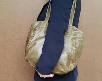 Distressed tote bag with pockets - vintage leather purse - travel bag - original shoulder handbag handmade handbags and purses liliana
