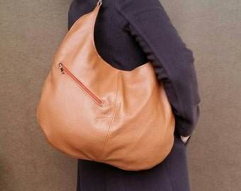 Tan Leather Hobo Bag with Outside Pocket - Slouchy Purse - Large Urban Handbag yoby