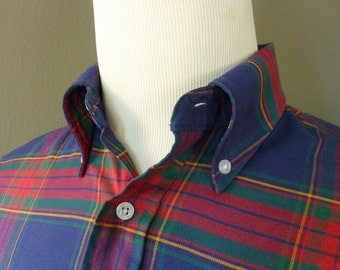 Vintage LL Bean Plaid Button Down Collar OCBD 60/40 Cotton - Poly Blend Shirt 15 1/2 - 35.  Made in USA.