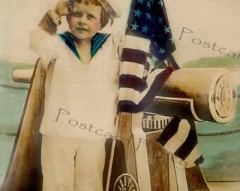PATRIOTIC  Sailor Boy with AMERICAN FLAG, Real Photo Vintage Postcard, Instant Digital Download, Printable Image