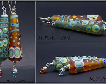 Topaz, Lime green, Turquoise  - lampwork Earrings,  with Swarovski Chrystal beads - Glass Art by Michou P.Anderson