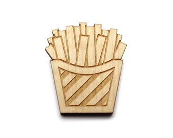 Fries brooch  - Fries  jewelry  - maple wooden jewellery - wood and metal pin - lasercut minimalist jewelry