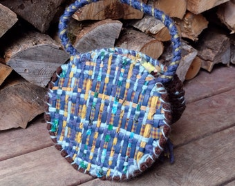 Blue bag Round handbag Crochet handbag Boho bag Bohemian bag Round bag Handle bag Crochet bag Blue handbag Crochet bag Round purse Knit bag