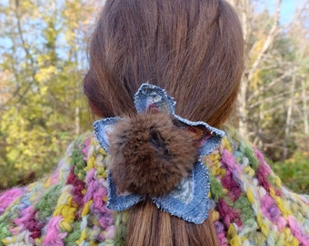 Pompom pony holder Hair elastic Recycled fur Denim pony holder Denim hair tie pompom hair tie Eco hair accessory Winter hair Kids hair tie