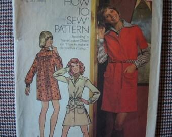 vintage 1970s simplicity sewing pattern 5794  juniors mini dress size 9/10