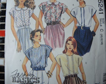 vintage 1990s McCalls sewing pattern 5241 misses set of blouses size 10 12 14
