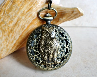 Owl pocket watch, battery operated mens pocket watch with owl mounted on front case