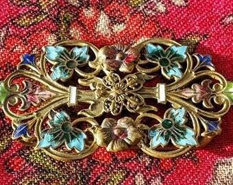 Rare & Stunning Antique French  Enamelled /Enamel Art-Nouveau Belt Buckle featuring Exquisite Multi-coloured Florals