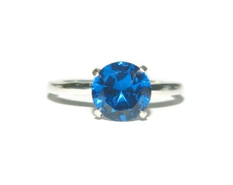 Blue Sapphire Ring, Sterling Silver Engagement Ring, September Birthstone Ring