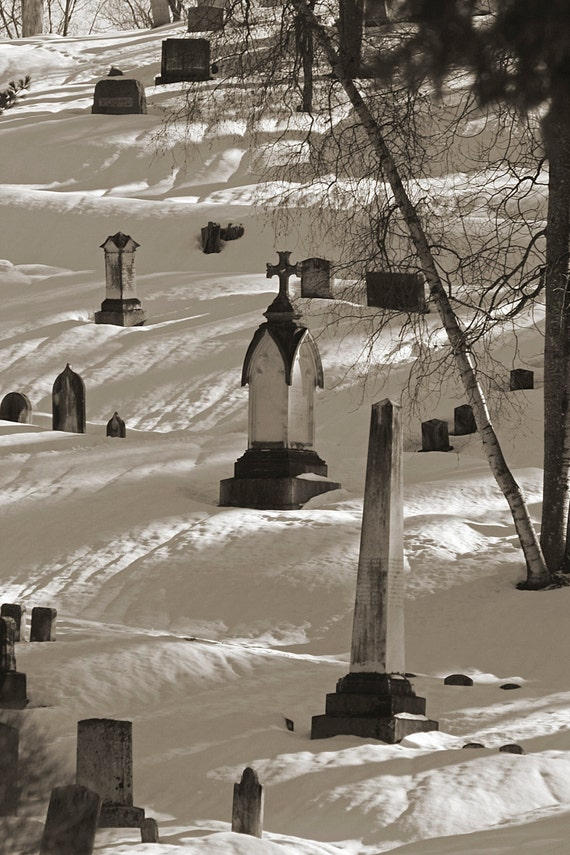 Photography, Mt Hope Cemetery, Black & White, Wall Art, Landscape, Unique Gifts, Office Decor, Home Decor, Fine Art, Winter
