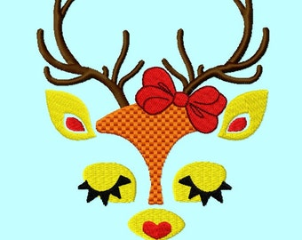 Deer Face with Bow Embroidery Design 4 sizes     INSTANT DOWNLOAD