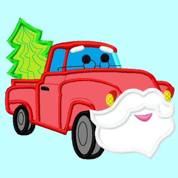 Santa Claus Red Truck Applique Embroidery Designs 3 sizes