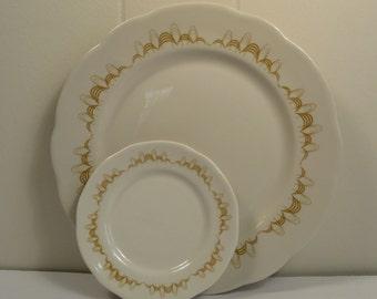 Buffalo China, Colonnade, Mustard loops, plates, MCM, Atomic