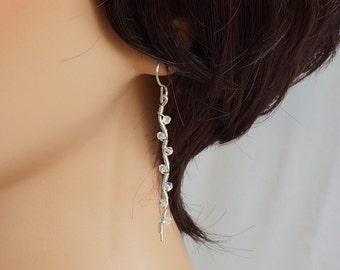 Long Swarovski Crystal AB Earrings, Silver and Crystal Long Dangle Earrings, Swarovski Wire Wrapped Earrings