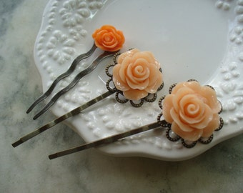 Pretty Peach Rose Filigree Hairpins, Antique Brass with Cabochon Rose, Shabby Chic, Bobby Pin