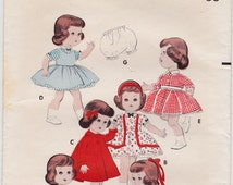 "RARE 50s Littlest Angel Doll Clothes Wardrobe Vintage Sewing Pattern - Butterick 7971 - Full Skirt Dresses, Coat, Bolero, Petticoat, 11"""
