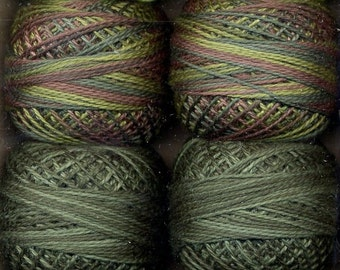 Valdani Size 8 Perle Cotton Embroidery Thread - Two in Green