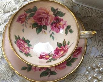 Gorgeous  Paragon Teacup and  Saucer  Set Fine English  Bone China  Pink Teacup Pink Roses