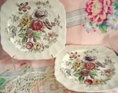 Vintage Wedding Luncheon Plates Square Sheraton Johnson Bros England Salad Plates Cottage Chic Set of 2 Vintage Bridal Shower