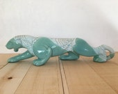 Retro aqua ceramic panther 1950's vintage decor large tiger jaguar turquoise blue green