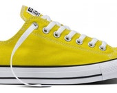 Ladies NEW Bitter Lemon Yellow Canvas Classic Low Top Converse Bling  Swarovski CRYSTAL Rhinestone Trainers Chuck Taylor All Star Shoes