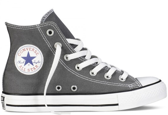 Gray Converse High Top Mens Women Gunmetal Charcoal Custom Wedding Kicks w/ Swarovski Crystal Rhinestone Chuck Taylor All Star Sneaker Shoes