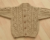 toddlers handknitted aran style cardigan to fit age 1to2 years