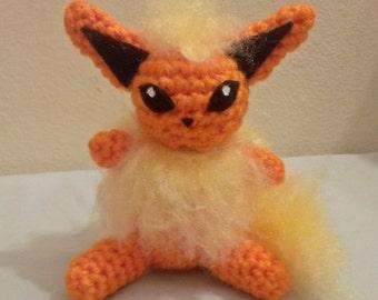 Flareon Inspired Crochet Amigurumi Doll - Stuffed/Plush Toy