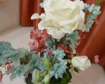 Floral Arrangement, Silk Flowers, Beautiful arrangement in Aqua Marine, Pink and White flowers