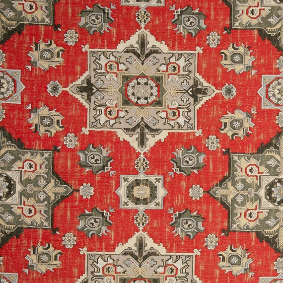 Grey Red Woven Tapestry Upholstery Fabric - Textured Taupe ...