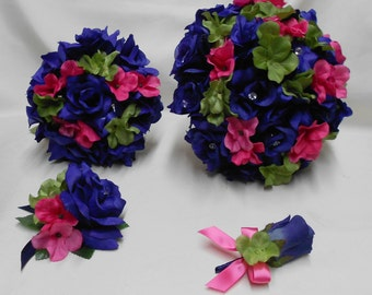 Wedding Silk Flower Bridal Bouquet Package Navy Blue Sage Hot Pink Bride BridesmaidsToss Bouquets Boutonnieres Corsages FREE SHIPPING