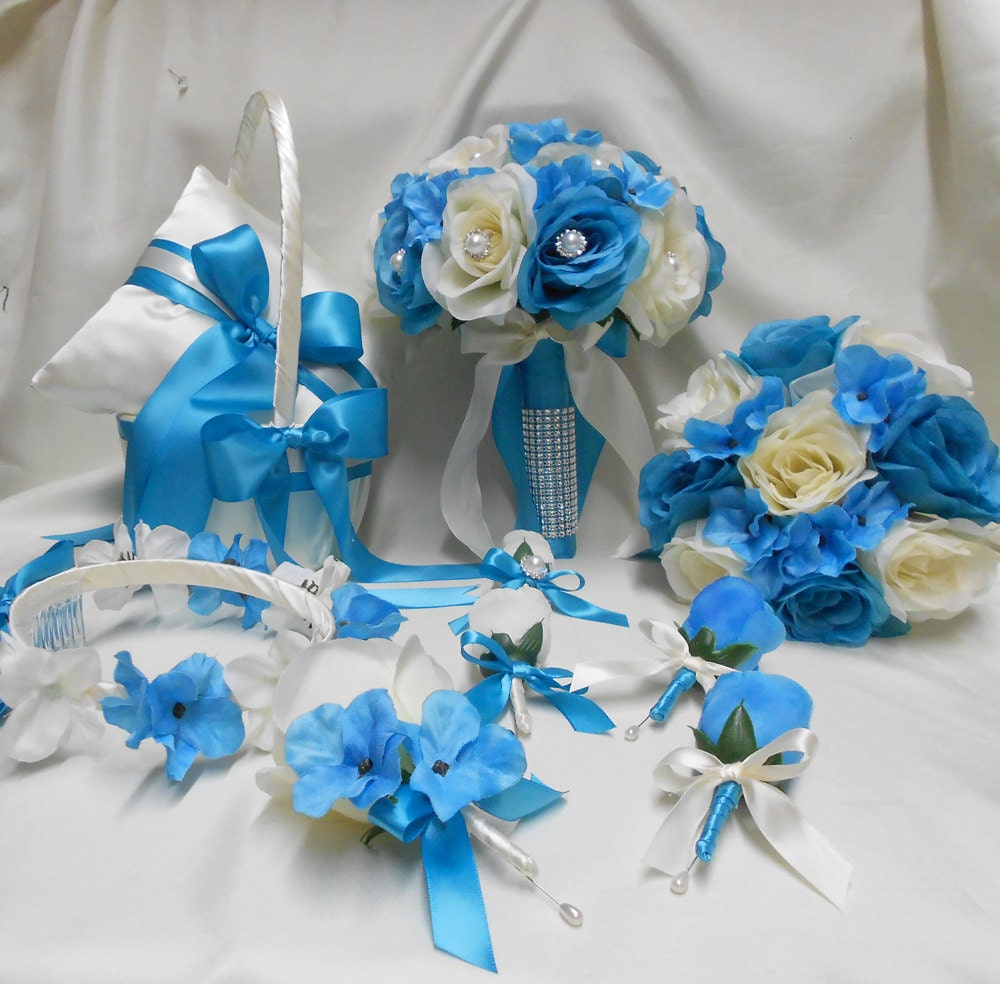 Wedding Bouquet Packages Silk : Wedding silk flower bridal bouquet package ivory turquoise