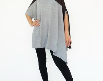 NO.197 Heather Grey and Charcoal Cotton-Blend Jersey Color Block Top, Asymmetrical T-Shirt, Women's Top